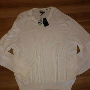 Club Room V-Neck White Sweater XL Supima Cotton